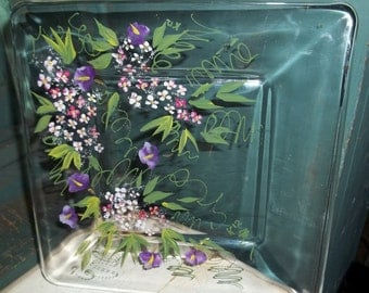 Next day Shipping ROMANTIC GARDEN Square Cheese or Appetizer Plate Handpainted