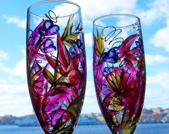 Next Day Shipping 2 TROPICAL PARADISE Champagne Flutes Glasses Handpanted
