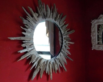 "30"" Driftwood Sunburst Mirror Beach Decor Cottage"