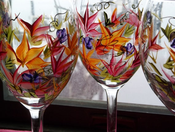 Next Day Shipping 4 ROUSSEAU Inspired Wine Glasses Handpanted