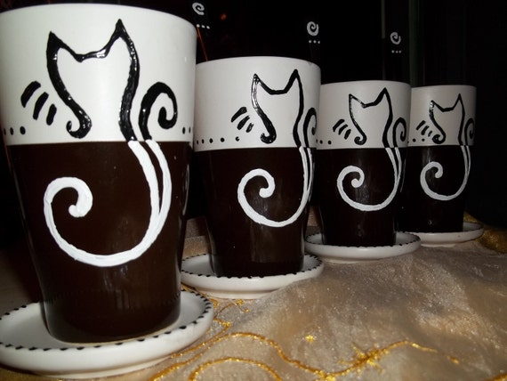 Next Day Shipping 4 KITTY Cappuccino Coffee Cups  Saucers & spoons handpainted