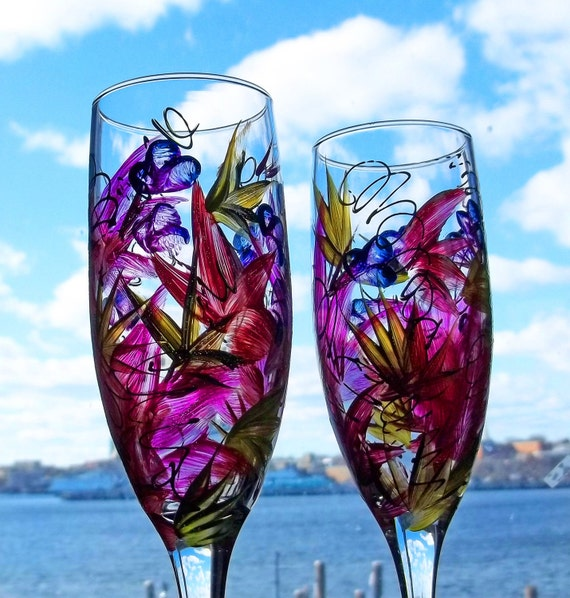 2 TROPICAL PARADISE Champagne Flutes Glasses Handpanted
