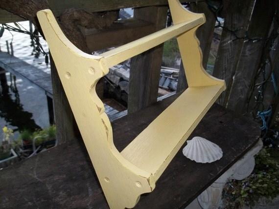 """16"""" Yellow Beach Cottage Wood Shelf shabby chic"""