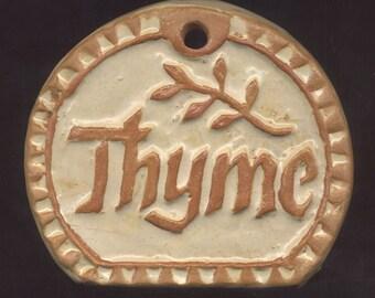 Herb Marker Garden Plant Tag Sign THYME Handmade Ceramic Tile Raised Letter Stoneware