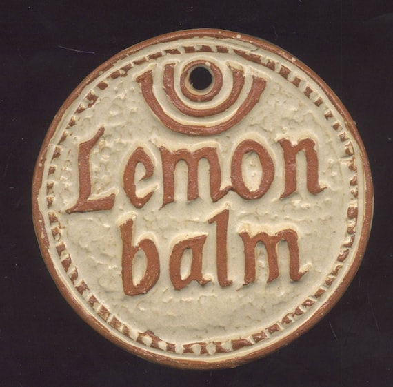 lemon balm herb garden marker plant sign by houseofwhisperingfir