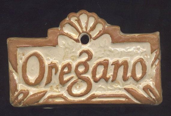 Herb Marker Garden Plant Sign OREGANO Handmade Ceramic Tile Raised Lettering