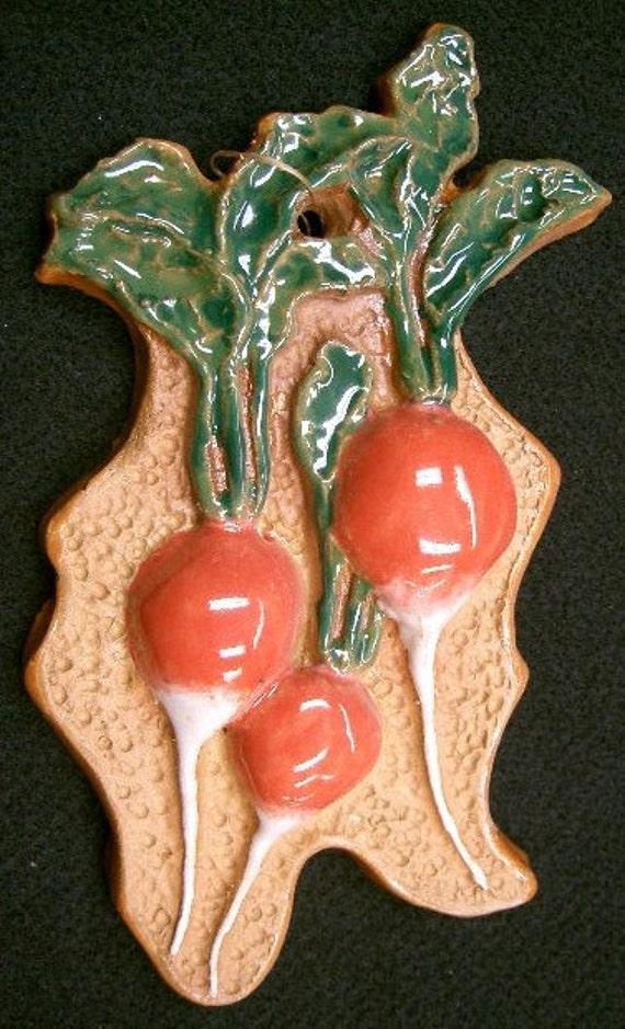 RADISH Vegetable Garden Marker Sign Ceramic Tile Kitchen Decor