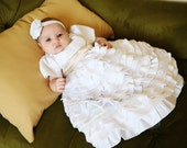 Baptism dress/Christening dress/Blessing dress/Newborn dress/baby girl dress/baptism gown/lace dress/ruffled dress/ Caroline Dress-0-12mo
