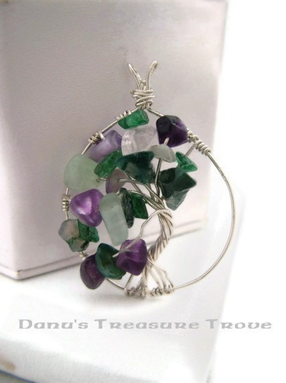 Sterling Silver Tree of Life Pendant - Spring with Fluorite, Moss Agate, Aventurine,  Amethyst, Rose Quartz Chips