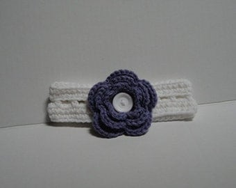 Crochet Headband with 3 Flowers (White)