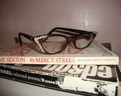 Vintage L. Evrard Cat Eye Glasses with Rhinestones