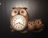 1970s  Vintage Owl Clock
