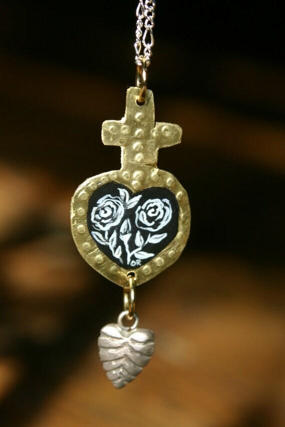 Sacred Heart of Roses Pendant