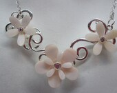 Shell Flower Bib statement necklace,Mother of Pearl Statement Necklace ,Bridal Necklace , Sterling Silver Pearl Necklace