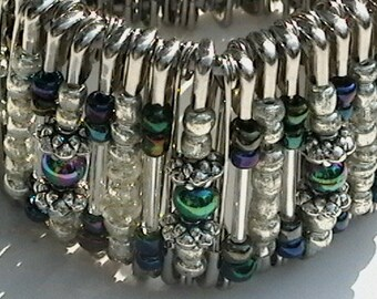 Safety Pin Beaded Wrist Cuff Bracelet