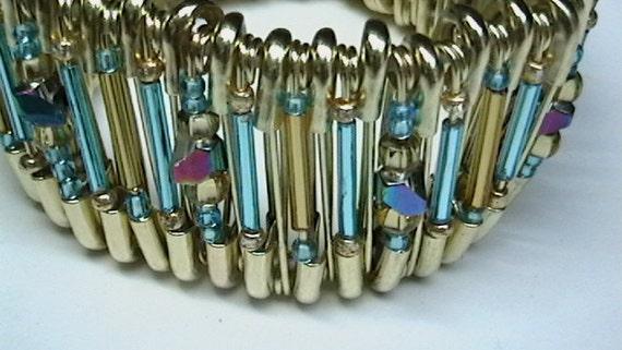 Safety Pin Beaded Wrist Cuff Bracelet Free Shipping Code 0dolla4u