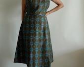 Fab Vintage 1960's Sleeveless Baroque Print A Line Dress Mad Men