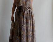 Fab Vintage 1970's 1980's AJ Bari Paisley Floral Boho Hippie Maxi Dress with Matching Shawl