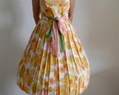 "Fab Vintage Stunning Late 1950's Early 1960's ""Meg Marlow"" Spring Summer Sherbert Dress w Chiffon Sash Tie Belt"