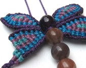 Macrame dragonfly necklace with beads - pick your colours