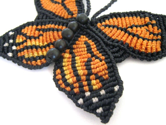 Macrame Monarch Butterfly Necklace - made to order