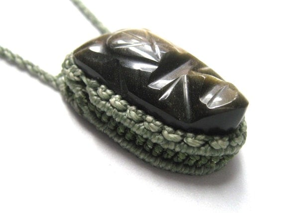 Macrame green necklace with carved obsidian mask - one of a kind