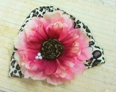 Wild Flower Cheetah Beanie with Rosette and Pearl Center