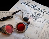 Steampunk Costume: Goggles, Leather Strap, Nickel-plated Brass Buckle