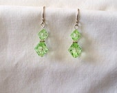 Green and Peridot Beaded Earrings in Silver