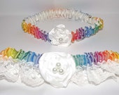 Wedding Bridal Garter Set, Rainbow Colors and White Lace, Rainbow Wedding