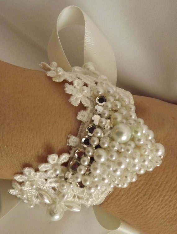 Ivory Lace Wedding Bracelet, Pearls, Crystals, Vintage Lace, Angel Wings