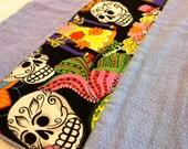 Dia de Los Muertos Lavender Birdseye Burp Cloth