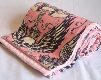 No Guts, No Glory Pink Minky Stroller Blanket