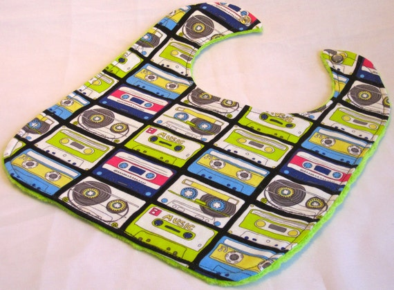 Retro Cassette Tapes Lime Green Bib