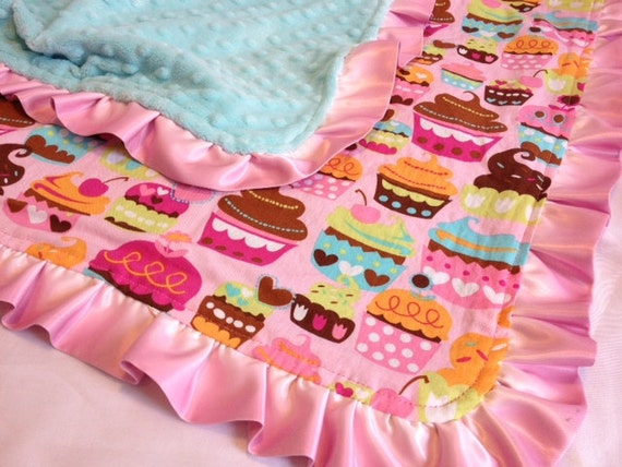 Pink Sweet Treats Satin Ruffle Blanket