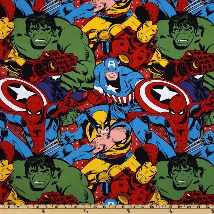 Marvel Retro Comics Multi Comic Characters Fabric