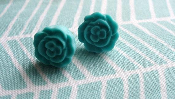 Reserved. SALE.   Teal Flower Buds.  Aqua. Cabochon Flower Post Earrings.