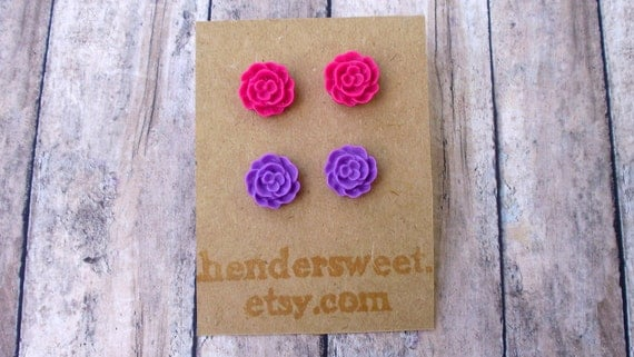 Romance.  Deep Pink and Purple.  2 Pairs of Small Cabochon flower post earrings.