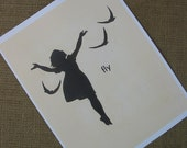 Set of Two Children Prints Girl Silhouette Bird Girl Nursery