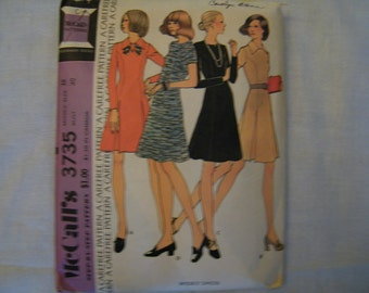 McCall's 3735 Vintage 70s Dress Sewing Pattern Princess Style Flared Skirt  Sz 18 Bust 40