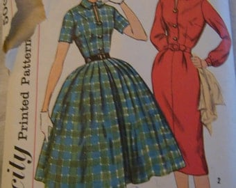 Vintage 50s Dress Sewing Pattern, Full Shirtwaist Rockabilly Dress, Straight Skirt Dress, Size 14, Simplicity 2622, Mid Century, Mad Men