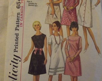 Vintage Sewing Pattern, 60s Dress, A Line Dress, Sleeveless, Short Sleeves, Long Sleeves, Size 14 Bust 34, Simplicity 5953, Mad Men Dress