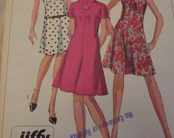 Vintage Dress Pattern 60s Dress with Raised Neckline Flared Skirt Sz 8 Bust 30 Simplicity 7161 Mad Men Mod