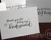 Thank You for Being My Bridesmaid, Maid of Honor, Wedding Party, Groomsmen, Usher, Flower Girl Thank You Cards Bridal Party CS02 (Set of 6)