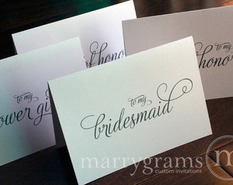 Bridesmaid Cards, Maid of Honor, Wedding party... Wedding Thank You Cards - Bridal Party Notes to go with Gift
