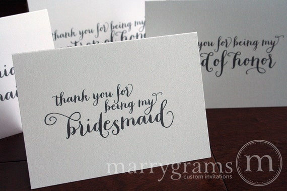 Thank You for Being My Bridesmaid, Maid of Honor, Wedding Party, Bridesman, House Party, Attendant Thank You Cards for Bridal Party CS02