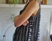 Tribal Aztec Print Dress // Black & White Patterned Button Up Tunic // Medium Large