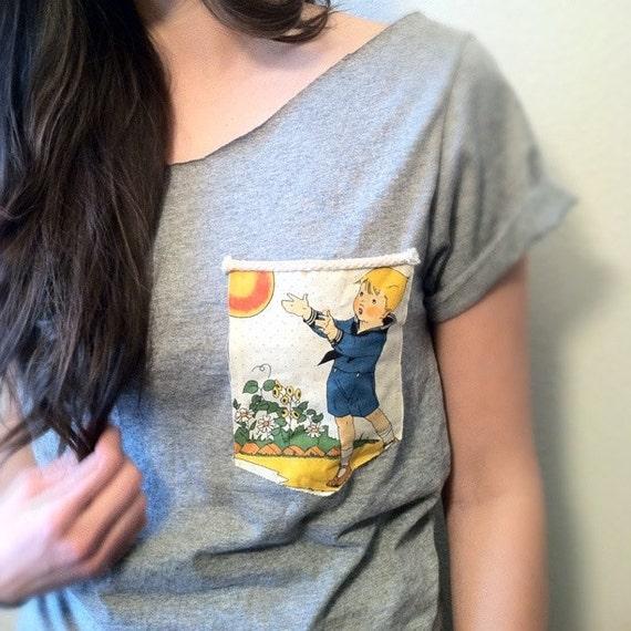 Little Boy Blue-Punctuation, American Jane, Vintage Pocket Off shoulder Shirt- (women, teen girl) FREE SHIPPING