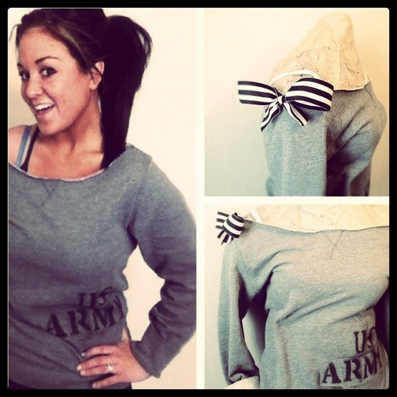 S-A-L-E Off the Shoulder US Army Sweater with Chic Bow (teen girl, women) FREE SHIPPING