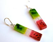 Watermelon fused dichroic glass earrings, sterling silver